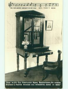 Pre-1950 rppc MY OLD KENTUCKY HOME SONG WRITING DESK Bardstown KY v5062