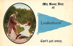 Can't Get Away From Lindenhurst New York~Man Lady Tug of War~1914 Pennant PC
