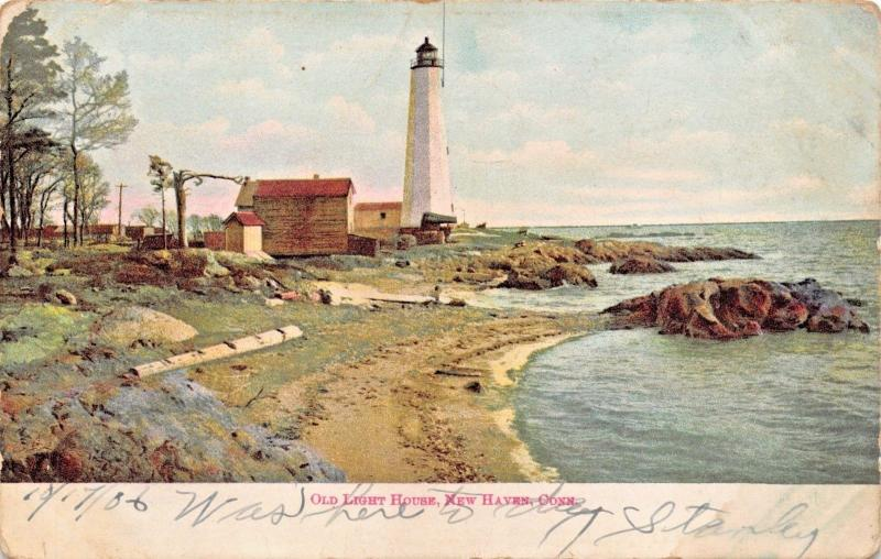 NEW HAVEN CONNECTICUT~OLD LIGHT HOUSE LIGHTHOUSE-S LANGSDORF PUBL POSTCARD 1906