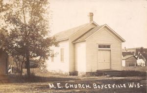 Boyceville Wisconsin~Methodist Episcopal Church~Barns~Downtown in Back~1910 RPPC