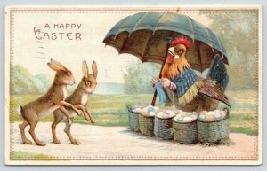Easter Fantasy~Walking Rabbits Shop Dressed Hen Colored Egg Basket Sale~Knitting