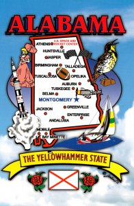 Alabama The Yellowhammer State With Map Showing Major Cities