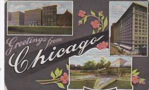 Ilinois Chicago Greetings Showing Michigan Avenue Marshall Field Department S...