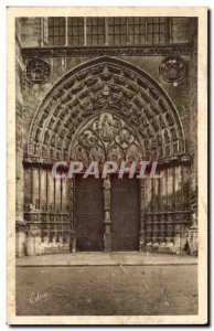 Old Postcard Sens The central portal of the cathedral