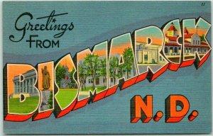 1940s BISMARCK North Dakota Large Letter Postcard Multi View Tichnor Linen