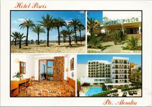 Hotel Piscis Port D'Alcudia Mallorca UNUSED Multiview Postcard D91