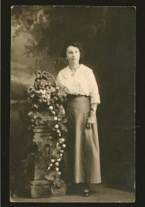 Vintage Made in Canada Portrait of A Lady/ Flowers Real Photo Postcard Unposted