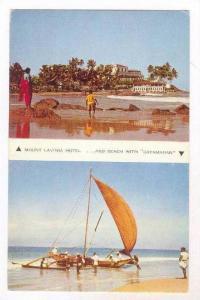Mount Lavinia Hotel & Beach with fishing Catamaran , Ceylon , 40-60s