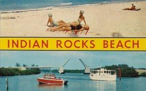Indian Rocks Beach FL, Beautiful Women on Beach, Large Letter 1960's Swimsuit