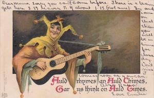 Humour Joker Playing Guitar Auld Rhymes An Auld Chimes 1906