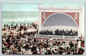 Long Beach CA~Afternoon Band Concert Crowd~Close Up Beach Bandshell~Stage~1909