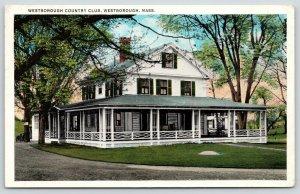 Westborough MA Wrap-Around Porch on Golf & Country Club~Shutter Windows 1920s PC