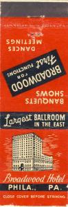 Early Philadelphia, Penn/PA Matchcover, Broadwood Hotel