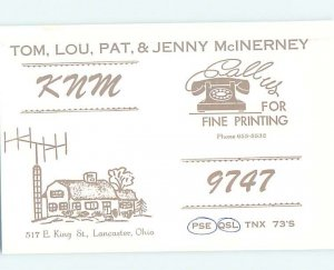 Pre-1980 RADIO CARD - CB HAM OR QSL Lancaster Ohio OH AH2910