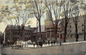Johnstown New York~Fulton County Court House~Men/Boys Posing~Reids Baggage~c1910