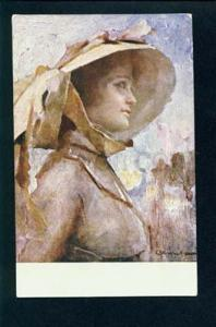 074852 Glamour BELLE Lady in Hat by GIUSEPPE AMISANI old ITALY