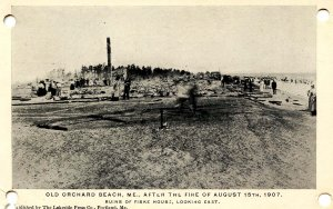 ME - Old Orchard Beach. August 15, 1907 Fire Ruins. Fiske House (holes in cor...