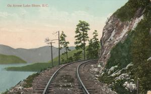 ARROW LAKE Shore , B.C., Canada, 1910 ; Railroad Tracks