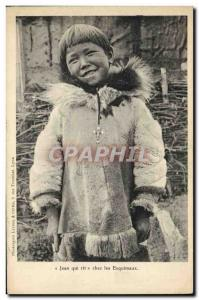 Old Postcard Polar Jean laughs among the Eskimos