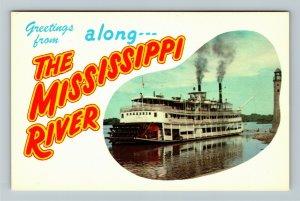 Mississippi River MS-Mississippi, Greetings, Riverboat, Chrome Postcard
