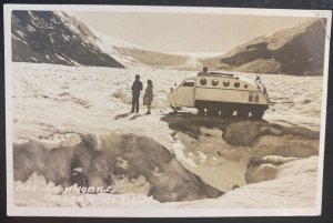 Mint USA Real Picture Postcard RPPC Snow Mobile Columbia ice Field