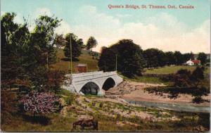 Queen's Bridge St. Thomas Ontario ON Unused Antique Postcard D42