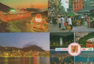 Aberdeen Hong Kong By Night Illuminations Market Tram Trams 3x Postcard s