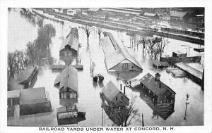 Concord New Hampshire~Railroad Yards & Ice Company Underwater~1927 Flood~B&W PC