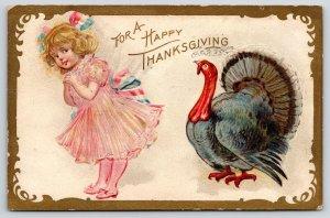 Thanksgiving~Turkey & Lil Blond Girl~Frilly Pink Dress~Patriotic Sash~Gold NASH