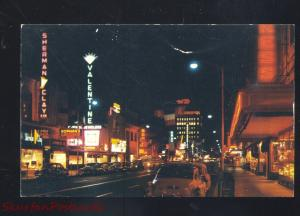 FRESNO CALIFORNIA DOWNTOWN STREET SCENE AT NIGHT VINTAGE