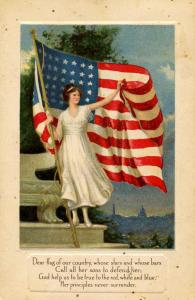 American Flag, Poem and Lady