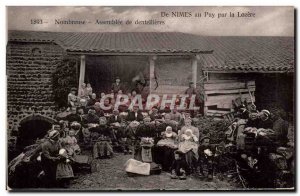 Old Postcard Folklore Lace Dentelliere De Nimes in Puy Lozere by large assemb...