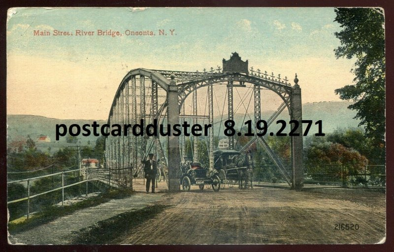 2271 - ONEONTA NY Postcard 1915 Main Street River Bridge. Old Car. Buggy