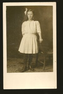 Vernon Photo Co Vernon BC Young Lady Posing Black & White Real Photo Postcard