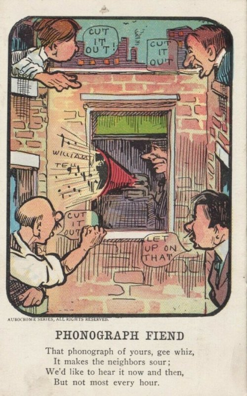 COMIC; 1900-10s; Phonograph fiend, blaring music
