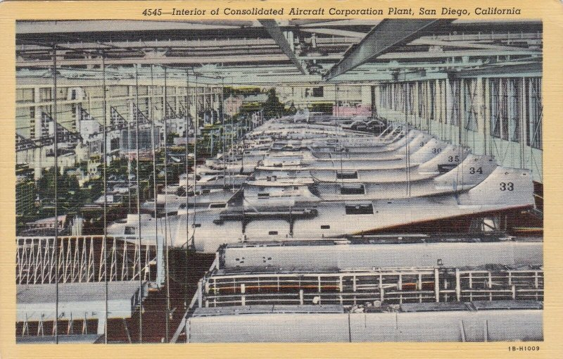 California San Diego Consolidated Aircraft Corporation Interior Curteich sk5526