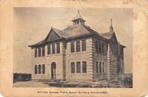 Hill City Kansas~Little Square Belfry Atop Stpne Public School~c1908 Postcard