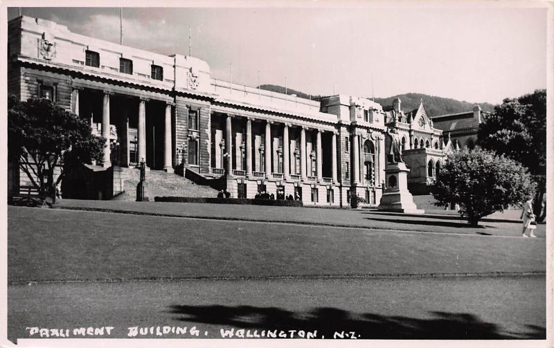 Parliament Building, Wellington, New Zealand, Early Real Photo Postcard, Unused