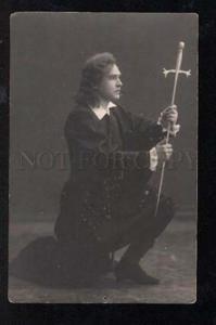 029809 FENCING Opera singer w/ swords HAMLET Vintage photo PC