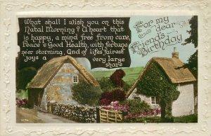 Postcard Greetings flower house birthday village