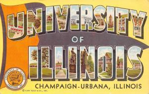 Champaign-Urbana~Large Letter CHROME~University of Illinois Stadium~Campus~1956