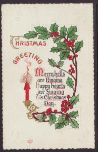 Christmas Greeting,Candle,Holly Postcard
