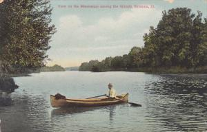 Man On A Boat, View On The Mississippi Among The Islands, Savanna, Illinois, ...