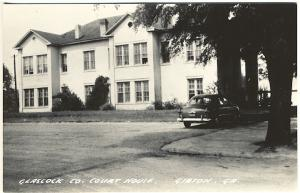 Gibson GA Glascock County Courthouse Old Car Real Photo RPPC Postcard