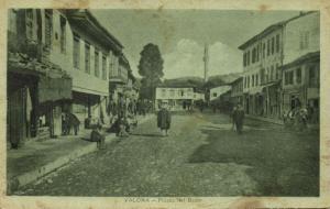 albania, VALONA VLORË VLORA, Piazza del Bazar, Mosque (1920s) Postcard
