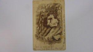 Antique 1912 Couple Kissing Postcard