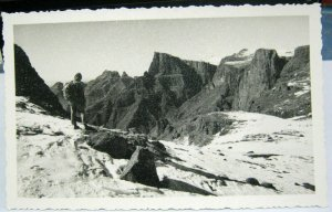 South Africa Drakenberg scene and climber RPPC - posted 1957