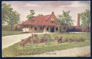 DRI & NW Railroad Depot Building Moline Il Unused c1910s