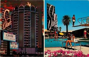 Las Vegas Nevada~Sands Hotel~Della Reese~Neon Night~Pool~Demolished 1996~1960s
