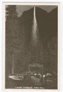 Fire Fall Camp Curry Yosemite National Park California RPPC postcard